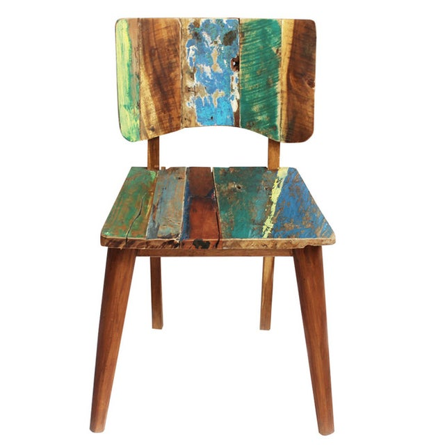 Reclaimed Boat Wood Chair - Image 1 of 4