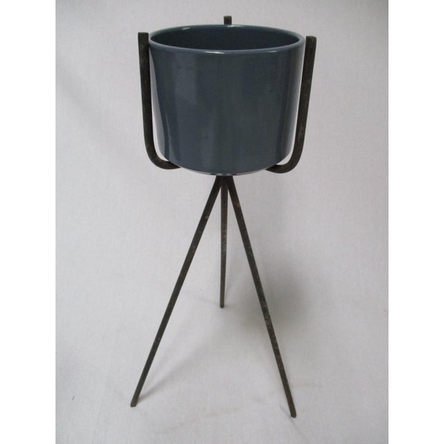 Mid-Century Modern Gainey Blue Pot & Iron Tripod Stand - Image 2 of 11
