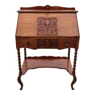 Antique Early American Walnut Drop Front Lady's Secretary Desk For Sale