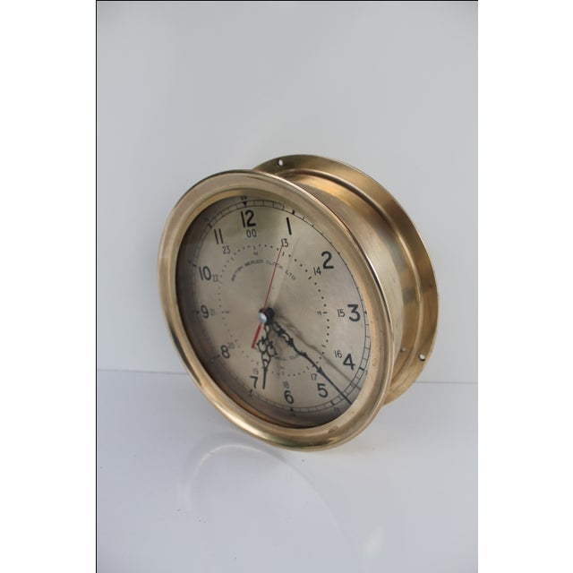 Gold 1940´s Nautical Round Solid Brass Wall Clock For Sale - Image 8 of 10
