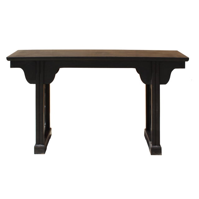 Asian Chinese Dark Brown Black Huali Rosewood Plain Ming Style Altar Table For Sale - Image 3 of 7