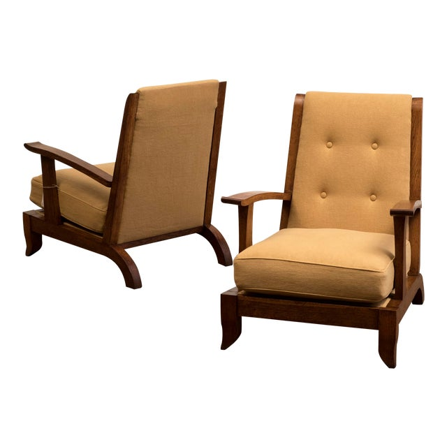 Pair of French Lounge Chairs in Oak and Belgian Linen, 1940s For Sale