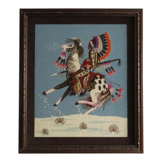 Native American Rider on Horse Framed Needlepoint For Sale