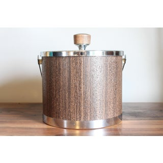 Vintage Mid Century Chrome and Woodgrain Look Ice Bucket by Kromex Preview