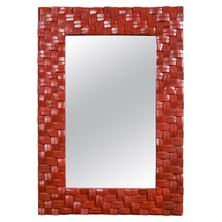 """Red Painted """"Woven"""" Mirror For Sale"""