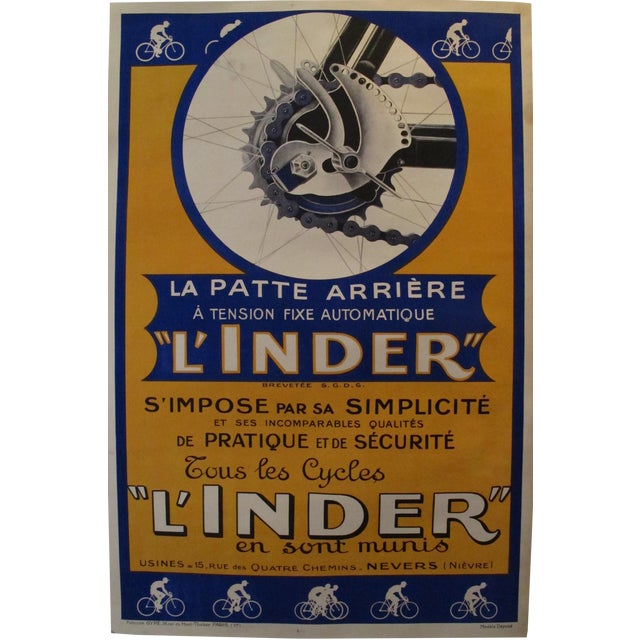 Vintage French L'Inder Bike Poster - Image 1 of 8