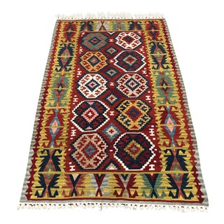"Vintage Turkish Hand Woven Kilim Rug- 3'10"" X 6'-Authentic-Tribal Rug-Flatweave-Boho Chic Rug-Midcentury Modern Decor-Area Rug-Colorful-Geometric For Sale"