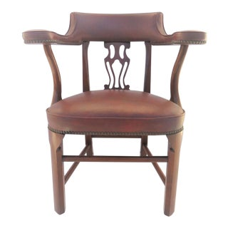 Colonial Willamsburg Style Mahogany & Leather Side Chair For Sale
