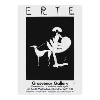 Erte (Romain de Tirtoff) Ebony in White 1982 Signed Grosvenor Gallery Exhibition Poster 1982 For Sale