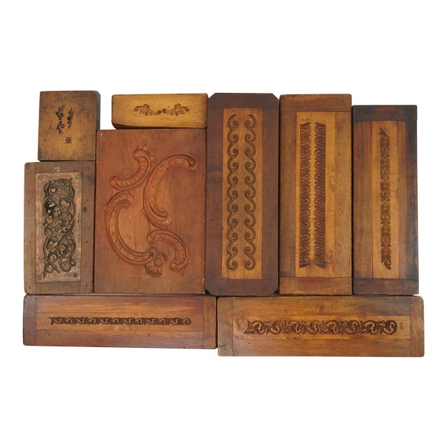 Collection of 50 19th Century Carved Wood Molds for Castings For Sale