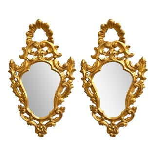 Italian Rococo Wall Mirrors, Giltwood Carved - a Pair For Sale