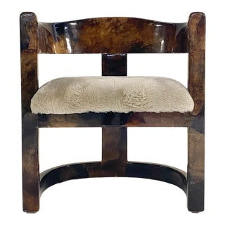 Karl Springer Lacquered Goatskin Armchair in Shearling For Sale