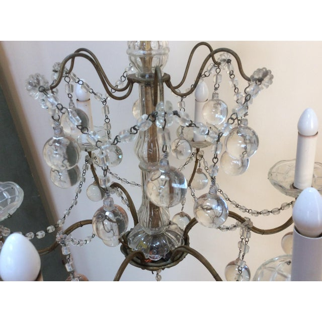 Italian Clear Murano glass drop Chandelier For Sale - Image 3 of 6