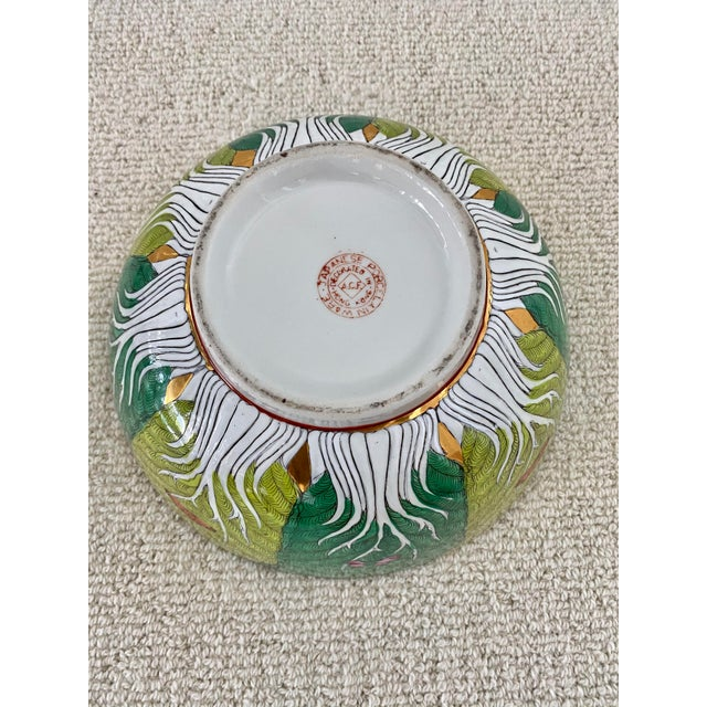 Ceramic Vibrant Green Porcelain Bowl With Butterflies For Sale - Image 7 of 10