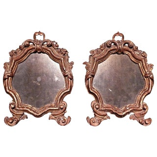 Pair of Carved and Gilded Wood Shield Shaped Mirrors For Sale