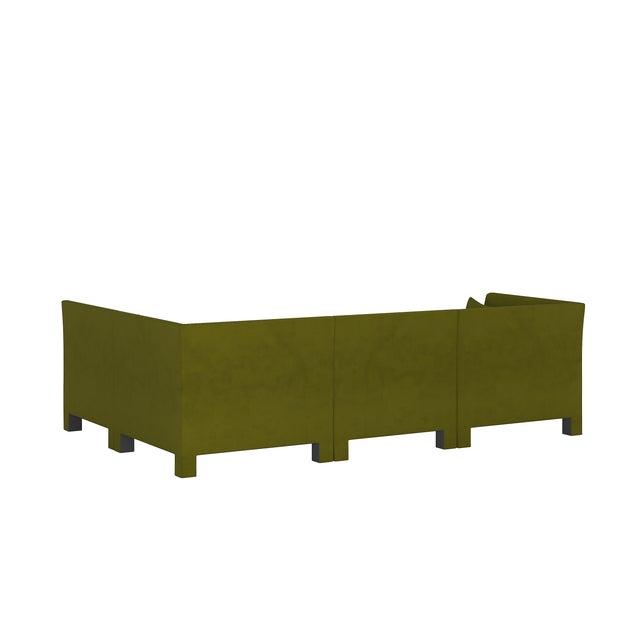 4 Piece Sectional , Velvet Applegreen For Sale - Image 4 of 9
