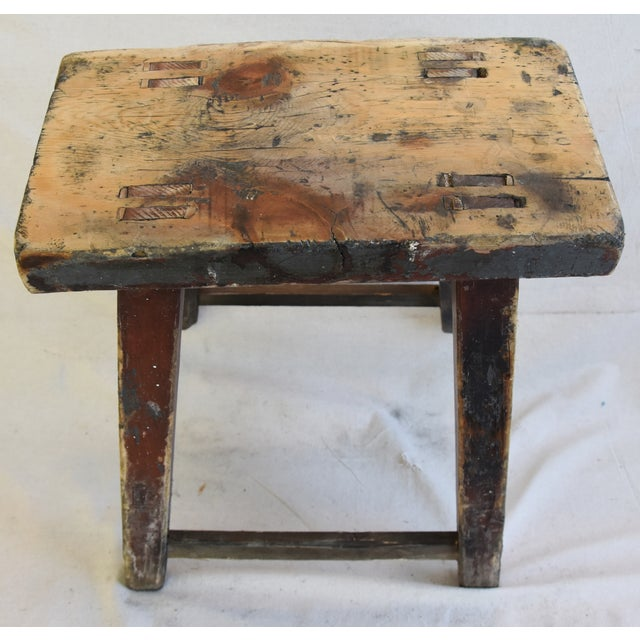 Rustic Primitive Country Wood Farmhouse Stool For Sale In Los Angeles - Image 6 of 8