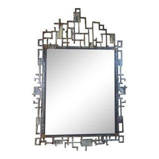 Cityscape Style Cast Iron Mirror For Sale