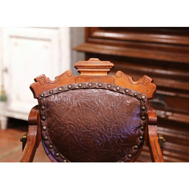 19th Century English Carved Walnut and Leather Adjustable High Chair Rocker For Sale - Image 10 of 13