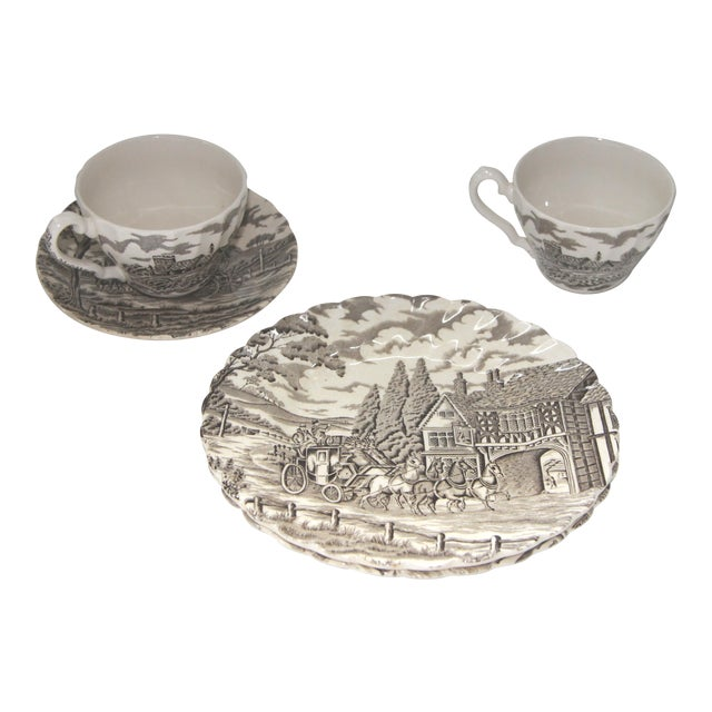 Myott Brown Transfer Ware Royal Mail Plates, Cups, Saucer - Set of 5 - Image 1 of 4