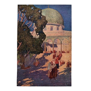 The Dome of the Rock on Mosque of Omar 1910 Print by Jules Guerin For Sale