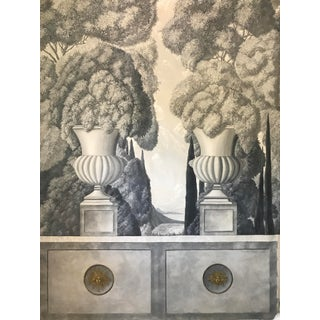 Mid Century Architectural Italian Grisaille Acrylic Painting on Canvas For Sale