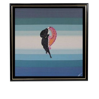 "1970s Vintage Erte Art Deco ""Beauty & the Beast"" Framed Silk Scarf For Sale"