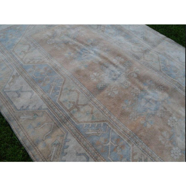 1970s Distressed Oushak Hand Knotted Rug - 5′2″ × 8′4″ For Sale - Image 5 of 9