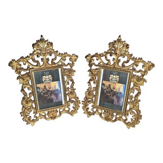 19th Century French Gilt Metal Photo Frames by Beatrice - a Pair For Sale