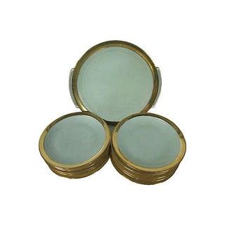 Limoges Art Deco Gilt Desert Plates - Set of 11