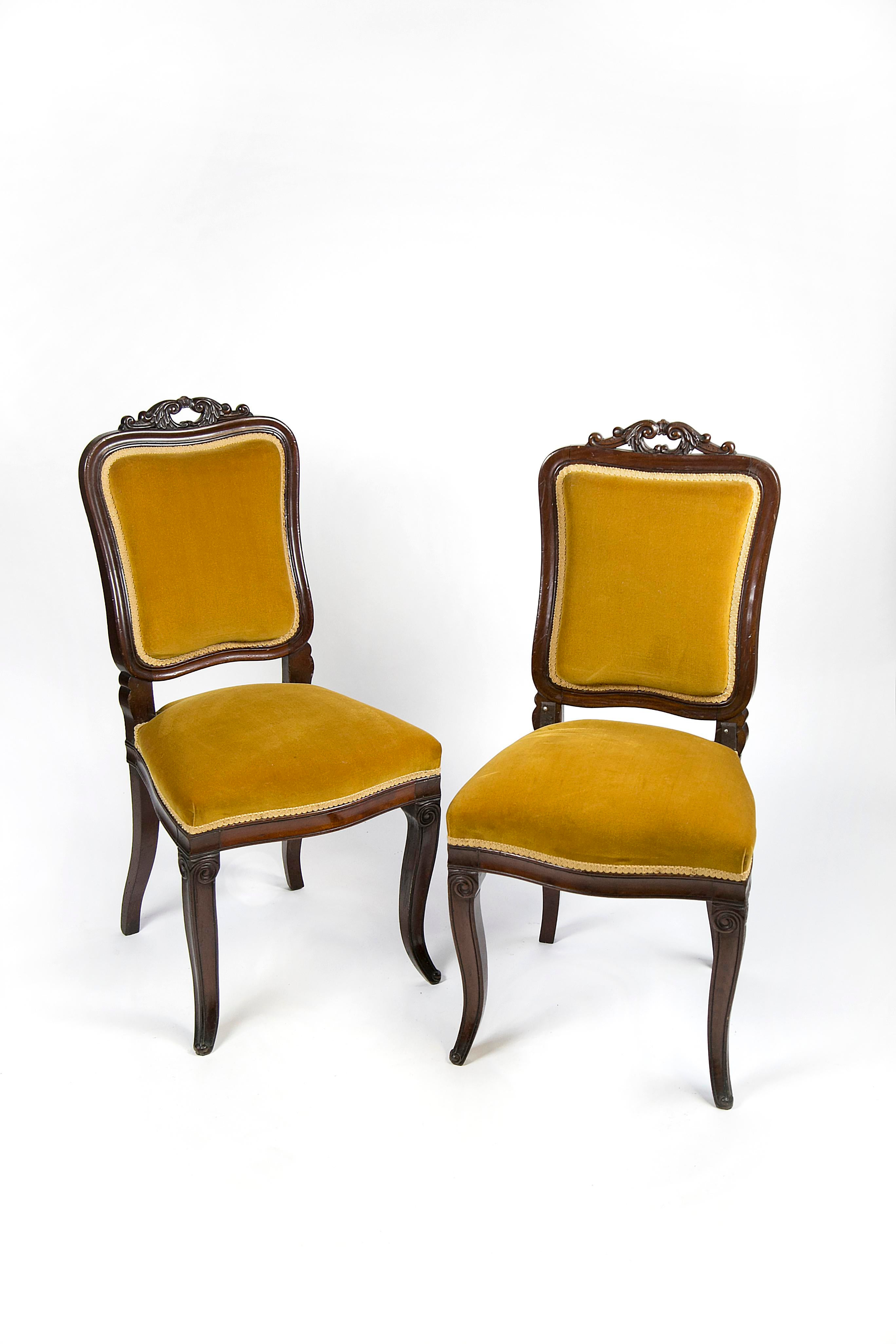 Antique Velvet Victorian Style Accent Chairs   A Pair   Image 12 Of 12