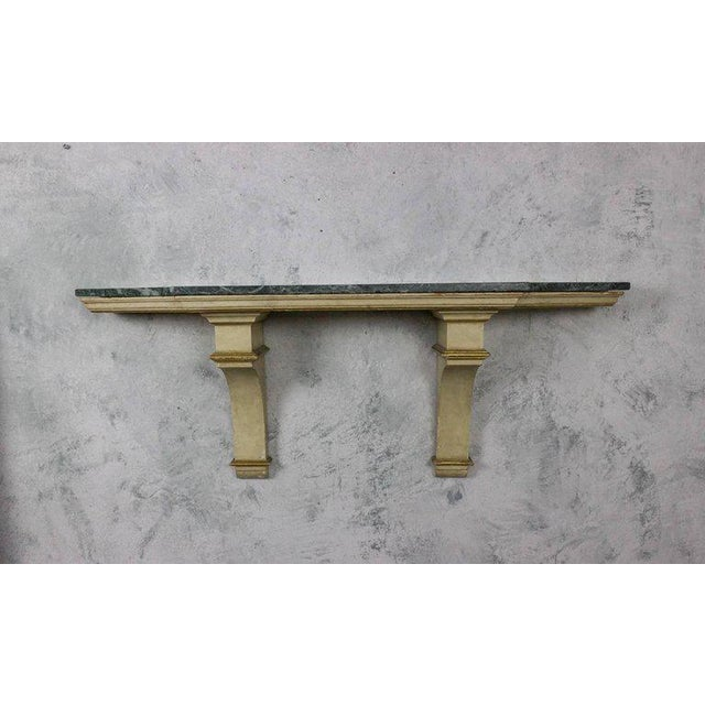 French Painted and Gilt Wall-Mounted Console with Green Marble - Image 3 of 10