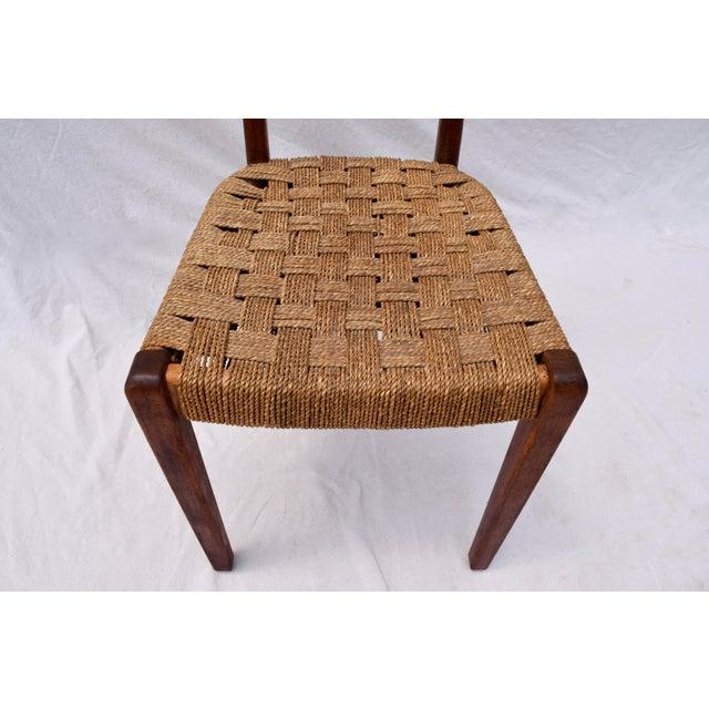 Chestnut Teak Mid Century Modern Side Desk Rope Chair For Sale - Image 8 of 12