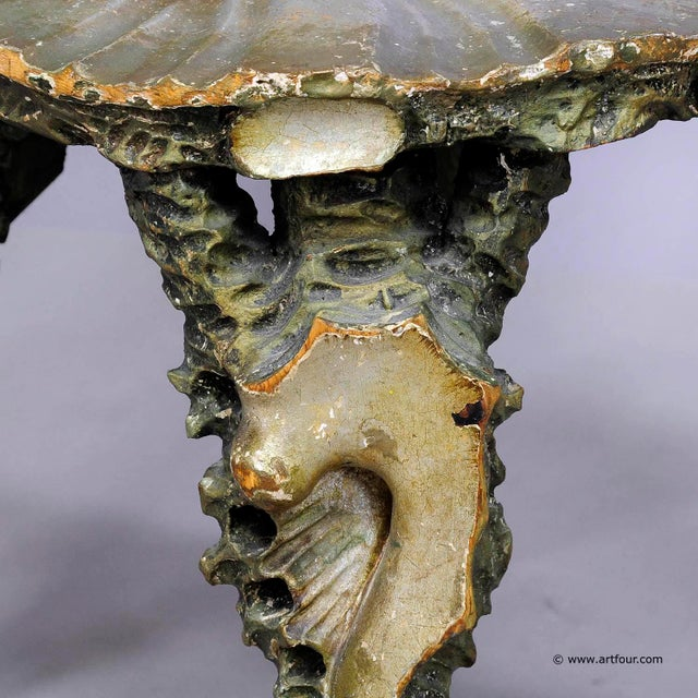 Green Antique Venetian Carved Grotto Chair Ca. 1880 For Sale - Image 8 of 12