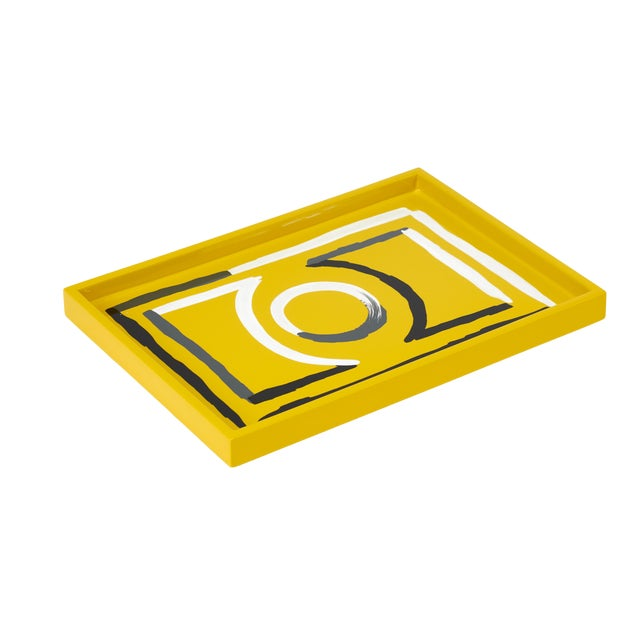 Luke Edward Hall Collection Small Etienne Tray in Yellow For Sale
