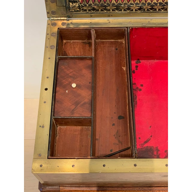 Antique Wooden Box on Custom-Made Stand For Sale - Image 10 of 13