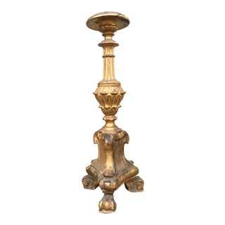 19th Century Italian Carved Gold Leaf Candlestick For Sale