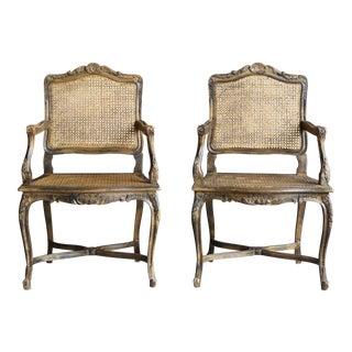 French Provincial Cane Arm Chairs - a Pair
