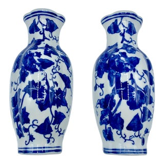 1980s Vintage Chinoiserie Blue and White Vase Wall Pockets - a Pair For Sale