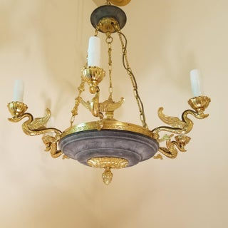 Mid- Century Acid-Etched Regency Style Chandelier With Swans Preview