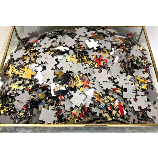 Jackson Pollock Vintage Jackson Pollock Puzzle in Glass & Brass Shadow Box For Sale - Image 4 of 8