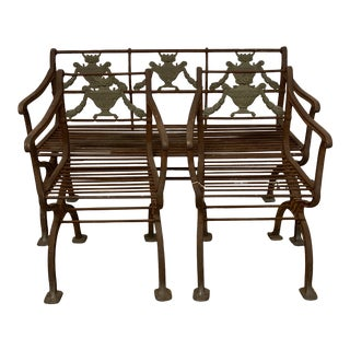 Vintage Iron and Bronze Garden Furniture - Set of 3 For Sale