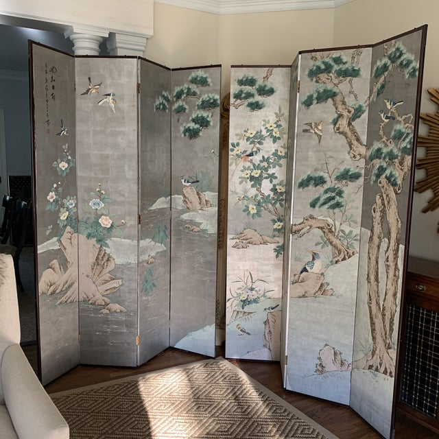 Chinoiserie Eight Panel Folding Screen, Silver Leaf With Birds, Peonies and Cherry Blossoms - a Pair For Sale - Image 13 of 13