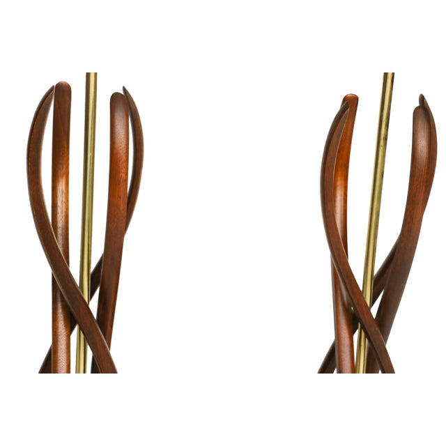 Pair Mid Century Sculptural Teak Wood Lamps - Image 5 of 9