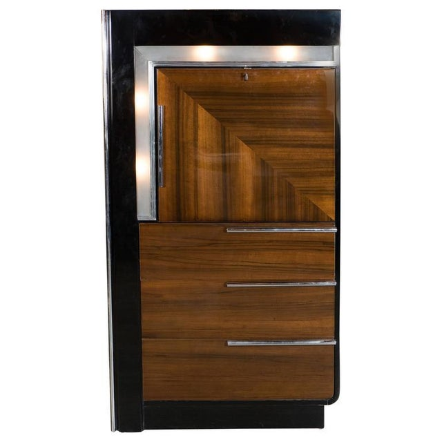 Art Deco Bar Cabinet in Walnut and Black Lacquer For Sale - Image 10 of 10