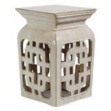 Image of White Ceramic Lattice Garden Stool For Sale