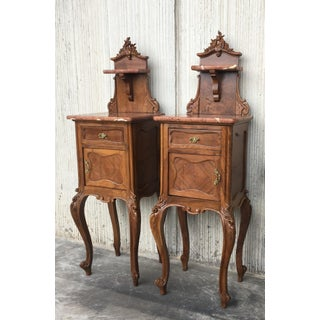 Tall and High Top Solid Oak Bedside Cabinets With Marble Top and Drawer Preview