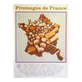 "Vintage Mid Century Parisian ""Fromages De France"" Regional French Cheese Poster Print For Sale"