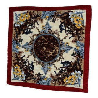 "Hermes ""Jungle Cats"" Silk Scarf, Italy For Sale"
