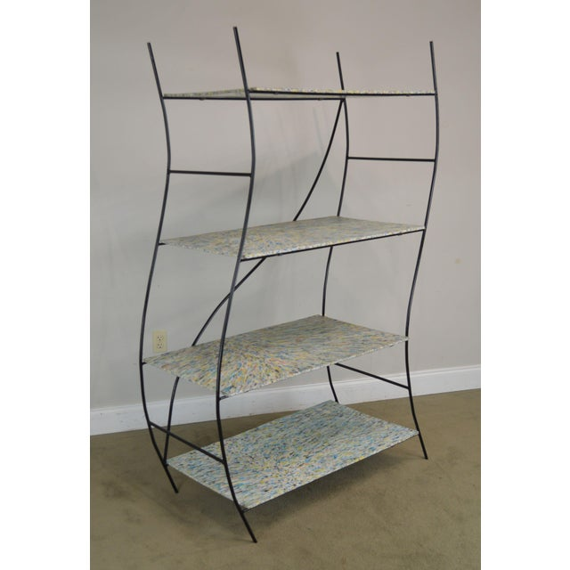High Quality Vintage Metal Rack with Colorful Plastic Shelves